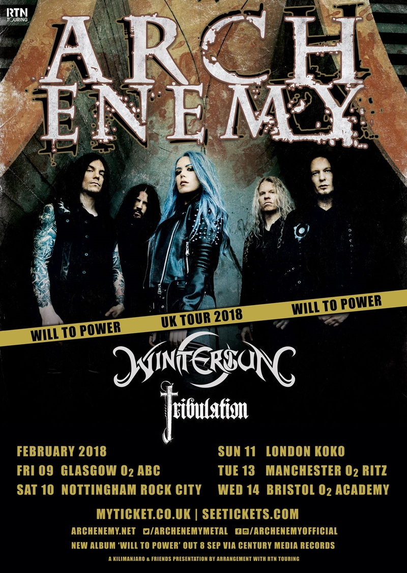 Arch Enemy 2018 UK Tour Poster