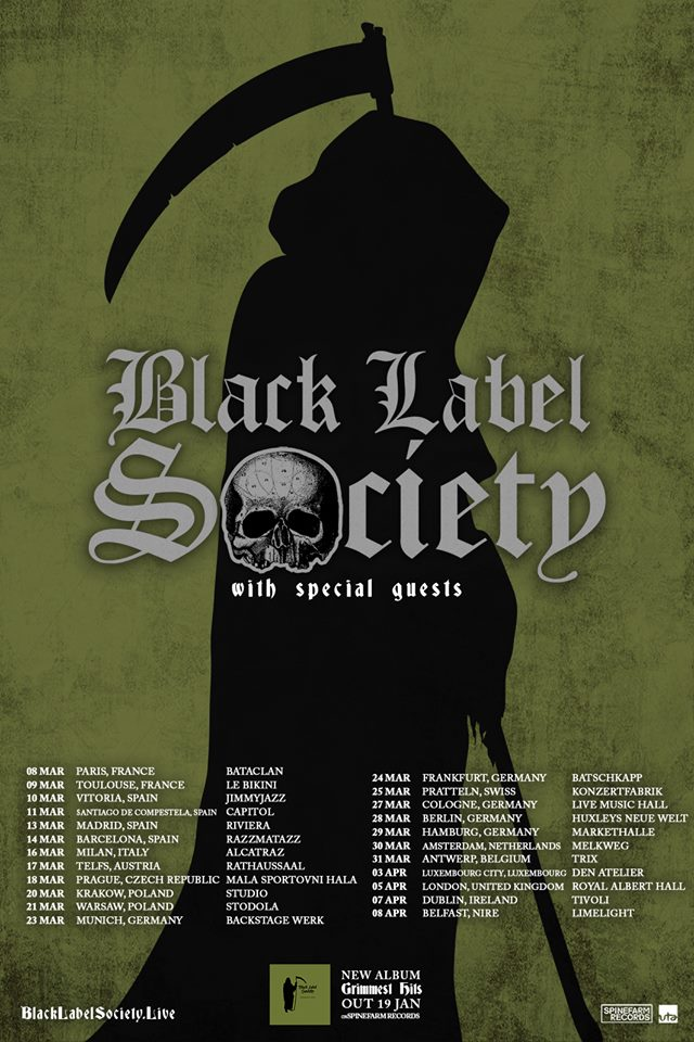 Black Label Society tour poster