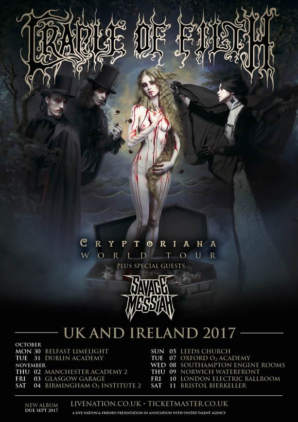 Cradle Of Filth updated tour poster